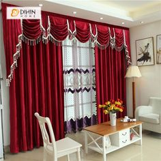 DIHIN HOME Solid Red and Decoration Embroidered Valance ,Blackout Curtains Grommet Window Curtain for Living Room Panel Luxury Curtains, Elegant Curtains, Cheap Curtains, Cool Curtains, Velvet Curtains, Grommet Curtains, Blackout Curtains, Window Curtains, Red Curtains Living Room
