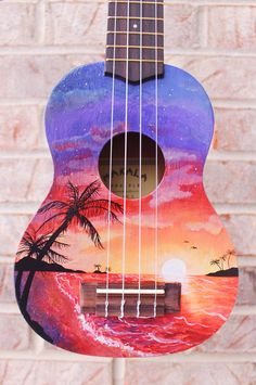 Sunset Beach Handpainted Ukulele - Care - Skin care , beauty ideas and skin care tips Ukulele Art, Ukulele Songs, Guitar Art, Cool Guitar, Cool Ukulele, Ukelele Painted, Painted Guitars, Ukulele Design, Posca Art