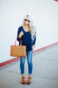 top: c/o Windsor pants: AG Maternity Jeans (non-maternity) shoes: Steve Madden (old) similar bag: Kate Spade via c/o Nordstrom Rack sunnies: Vince Camuto watch: Fossil necklace: c/o Bip & Bop