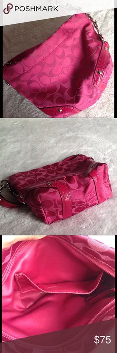 Coach Carly Signature Pink Bag - great size Bight pink and very pretty, this Coach bag was sitting away with a few others I forgot I had.  Looks perfect, thinking it was never used.  Has numbers ending 069-F44143. I LOVE it but since have not used want to find it a new home.  Carly Signature Bag. Fourth photo has apprx size. Zip top to shut bag. Small open pocket inside. Coach Bags