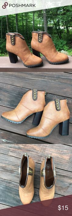 Electric Karma Tan Booties Worn once, like new! Excellent condition. Size - 8.5. Brand- Electric Karma, man-made material. Country Feel with a chic twist! Electric Karma Shoes Ankle Boots & Booties