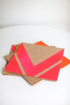 Cork placemats featured on Style Me Pretty Living today made with cork tiles, tape and spray paint from Office Depot.
