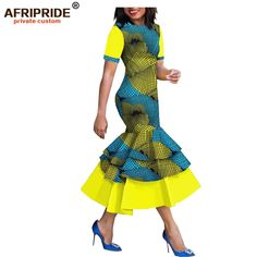 2019 spring&autumn african style dress for women AFRIPRIDE short sleeve mid-calf. By Diyanu 2019 spring&autumn african style dress for women AFRIPRIDE short sleeve mid-calf length 3 layers tru African Party Dresses, Latest African Fashion Dresses, African Dresses For Women, African Print Dresses, African Print Fashion, African Attire, African Women, Dashiki Prom Dress, Couples African Outfits