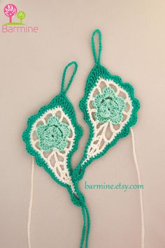 Mint Paisley Crochet Barefoot sandals Nude shoes Foot by barmine