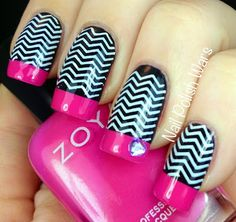 Barbie-esque Chevrons...fun with nail transfers never looked so cool (Nail Polish Wars)