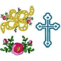 Cutwork Bow, Rose & Cross - June 2003 IEC Machine Embroidery Design D | Martha Pullen