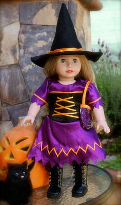 The best American Girl Doll Halloween Witch Costumes are at www.harmonyclubdolls.com Visit our huge selection of American Girl Halloween Costumes and our Exclusive line of 18 inch Harmony Club Dolls Brand Dolls.
