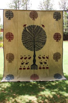 Indian Handmade Stonewashed Tapestry Cotton Bed Cover Applique Cut Bed Spread Tree of Life