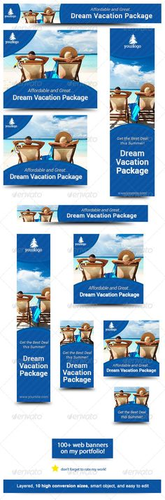 Dream Vacation Web Banner Design  #GraphicRiver        Dream Vacation – Banner Design Template Grant someone's dream vacation using this advertising web banner design template! Web Banner sizes These are the banner sizes that will give you high rate of conversion    leaderboard (728×90)   banner (468×60)   button (125×125)   small square (200×200)   wide skyscraper (160×600)   skyscraper (120×600)   vertical banner (120×240)   large rectangle (336×280)  Ad Sizes for Mobile Ads   square…