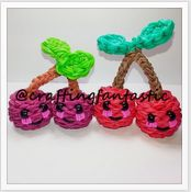Rainbow Loom Happy Food Series - Cherries - FeelinSpiffy - CraftingFantastic The tutorials are on her Youtube page:)