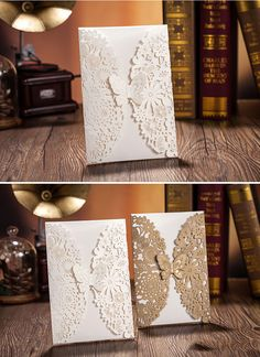 Laser Cut Out Floral Design Wedding Invitations Cards with Butterfly Envelopes   eBay