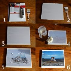 diy photo canvas OR.    use idea to take photo  to copy shop and have them put it on large canvas. Sandwich top and bottom edges between pairs of 1x4 wood slightly longer than canvas and brushed with polyurethane. Screw boards together