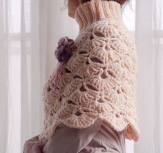 Hand knitted and crochet Capelet in peach colors for by Benivision, $69.00