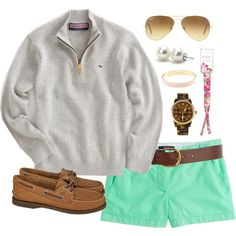 Vineyard Vines & Mint by classically-preppy on Polyvore featuring J.Crew, Sperry Top-Sider, Michael Kors, Bounkit, Ray-Ban, Warehouse, Lilly Pulitzer and Vineyard Vines