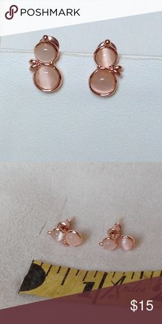 """TINY PEARL SNOWMEN EARRINGS New; never worn; rose gold setting; faux pearl; approximately a 1/2"""" long Jewelry Earrings"""