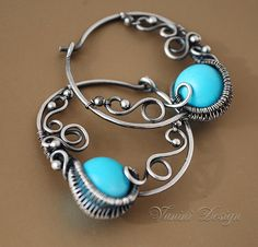 Sleeping Beauty Fine/sterling silver and turquoise hoop by vanini