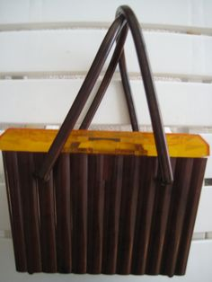 Tortoise and Amber Colored Plastic Box Purse by ClassicBagsSP 68