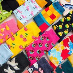 Colour Crew Cotton Happy Socks Women British Style Casual Harajuku Designer Brand Fashion Novelty Art For Couple Fun Funky Socks, Crazy Socks, Cute Socks, Colorful Socks, Silly Socks, Happy Socks, Cheap Socks, Harajuku, Designer Socks