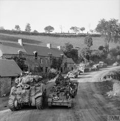PHOTOS & FILMS Sherman tanks and Bren carriers on the road to Montchamp during the advance towards Vassy, 4 August Ww2 Pictures, Ww2 Photos, Military Pictures, Normandy Ww2, Sherman Tank, Ww2 Tanks, Battle Tank, Native American History, D Day
