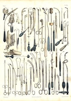 Welove the detail, texture and randomness of these beautiful illustrations of surgical instruments by Nicolas-Henri Jacob for Jean-Baptiste Marc Bourgery.