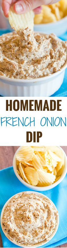 This homemade French onion dip recipe features deeply caramelized onions balsamic vinegar some seasonings sour cream and mayonnaise. Easy and SO delicious! | browneyedbaker