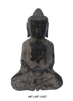 This sitting Buddha statue is made of solid stone and hand carved in a round.     It is a nice prayer's item and also good to put in garden for decoration.