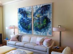 Blue curved sofa brass shelving unit art by mary rountree moore blueprint store in dallas malvernweather Gallery
