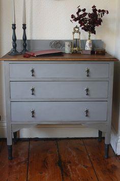 Restored Vintage Three-Drawer Dresser in Hurricane by ArthurandEde