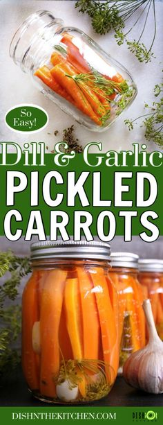 Pickled Carrots with Dill and Garlic - Small batch preserving these Pickled Carrots is easier than you think. Grow your own or buy carrots in season, then pickle them with dill and garlic for a dillicious treat! Pickled Vegetables Recipe, Pickling Carrots Recipe, Easy Pickled Carrots Recipe, Pickling Vegetables, Dill Carrots, How To Pickle Carrots, Carrot Recipes, Carrot Pickle Recipe, Fish Recipes