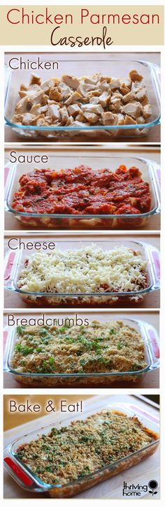 Chicken Parmesan Casserole {SO EASY & a great freezer meal! A family favorite that is super easy to make. This real food, healthy dinner recipe is also freezer friendly. New Recipes, Real Food Recipes, Cooking Recipes, Yummy Food, Recipies, Budget Recipes, Recipes Dinner, Recipes For A Crowd, Pasta Recipes