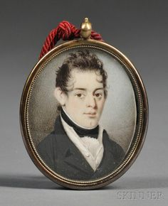 American School, 19th Century -   Portrait Miniature of a Young Gentleman. Unsigned. Watercolor on ivory, 2 1/4 x 1 3/4 in., in an oval brass pendant case with empty oval aperture on the reverse.