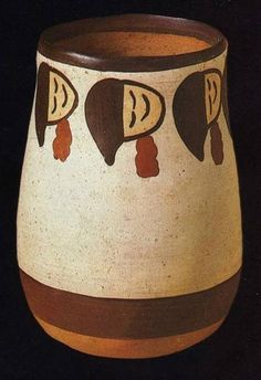 Nazca trophy heads depicted on a vase (Andean culture).