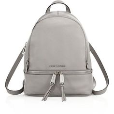MICHAEL MICHAEL KORS Small Leather Backpack ($315) ❤ liked on Polyvore featuring bags, backpacks, apparel & accessories, pearl grey, leather knapsack, grey backpack, grey leather backpack, leather ipad backpack and pocket backpack
