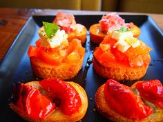 canapés,fresh cheese,tomato,basil,pepper,olive.