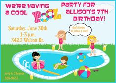 Child's Birthday Party Invitation  Pool by celebrationspaperie, $11.00