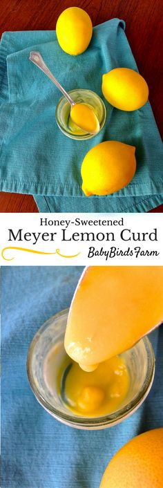 This honey-sweetened meyer lemon curd is a low sugar spin on the sweet and and tangy classic. Perfect for pancakes, tarts and meringue. Desserts For A Crowd, Summer Desserts, Easy Desserts, Dessert Recipes, Sweet Recipes, Real Food Recipes, Fruit Compote, Party Sweets, Lemon Curd
