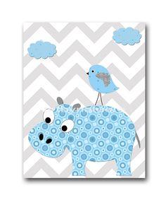 Hippopotamus Nursery Baby Boy Nursery Decor Baby by artbynataera, $14.00