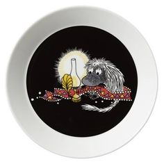 This new black Moomin plate by Arabia features the Ancestor. Tove Jansson, My Precious, Finland, Decorative Plates, Table Settings, Christmas Decorations, Tableware, Inspiration