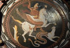 Bellerophon riding Pegasus and the Chimera (Illustration) - Ancient History Encyclopedia Ancient Greek Religion, Ancient Greek Art, Ancient History, Greek History, Ancient Greece, Chimera Mythology, Greek Mythology, Vases, History Encyclopedia