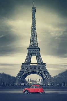 Beautiful photo wallpaper from LINE DECO. #paris #red #car #eiffel #background #homescreen #iphone #android