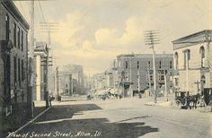 Second Street (now Broadway) in Alton, IL. From the collection of Doug Mayes