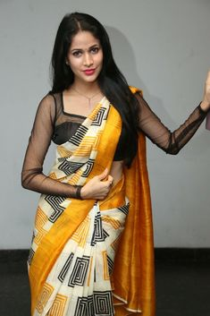 Looking for full sleeve net blouse designs? Here are the most gorgeous 25 latest model that can you wear with any designer and party wear sarees. Blouse Back Neck Designs, Netted Blouse Designs, Saree Blouse Designs, Sari Blouse, Indian Actress Gallery, Indian Actress Photos, Indian Actresses, Saris, Lavanya Tripathi