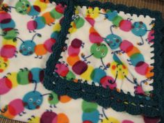 Baby Blanket With Crochet Ruffle - Bright Primary Colors Caterpillars - Baby Girl or Boy by UnhungHarps on Etsy