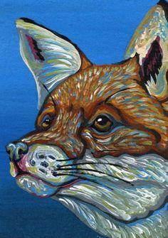ACEO ATCRainbow Fox Wildlife Art Painting Original - Carla Smale #Realism