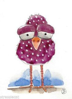 ACEO Original Watercolor Painting Folk Art Illustration Whimsical Purple Bird   eBay                                                                                                                                                                                 More