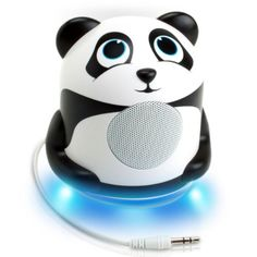 Panda Portable Media Speaker – Glowing LED Base, High-Excursion Driver, Passive Subwoofer and Universal Jack , iPhone cases Panda Love, Cute Panda, Portable Mini Speaker, Passive Subwoofer, Sweet Sixteen Gifts, Laptop Speakers, Electronics Gadgets, Phone Gadgets, Tech Gifts