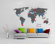 World maps vinyl decal - World Map decal with pins for housewares - Wall Decals , Home WallArt Decals on Wanelo Wall Stickers World Map, World Map Decal, World Map Wall, Vinyl Wall Stickers, Wall Decal Sticker, World Map With Pins, Decoration Stickers, Beautiful Wall, Textured Walls