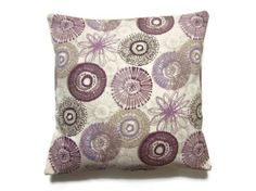 Decorative Pillow Cover Lavender Orchid Purple Taupe Ecru  Modern Circle Toss Throw Accent Cover 18 inch