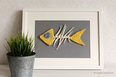 Felted skeleton of a butterfly fish can be a nice and exceptional accent of your bathroom, kitchen or even living room. It is also a great gift for numerous occasions. The skeleton of the fish is purely handmade while using a wet felting technique.