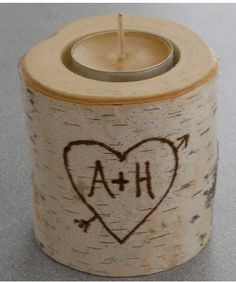 Valentine Gift for Your Girlfriend:  Personalized Birch Rustic Tea Light Candle Holder by Vermont Branch Company @ Ets
